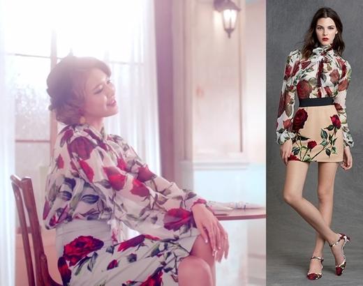 Tiếp tục trưng dụng những thiết kế trong bộ sưu tập mùa Thu của Dolce & Gabbana, Sooyoung kết hợp cả áo và váy ngắn giúp tôn lên đôi chân dài miên man của cô. Cả hai được bán ra thị trường với giá lần lượt là 1.245 đô la (tương đương 27,5 triệu đồng) và 559 đô la (tương đương 12,3 triệu đồng).