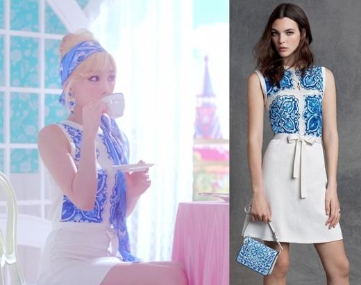 Trong khi đó, trưởng nhóm Taeyeon lựa chọn trang phục sáng màu có phần hiện đại hơn. Chiếc đầm dài in họa tiết đơn giản nhưng không kém phần tinh tế của cô nàng có giá 1.995 đô la (tương đương 44 triệu đồng).