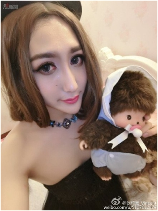Dáng vẻ của anh chàng họ Lưu sau khi phẫu thuật và hóa thân thành con gái.