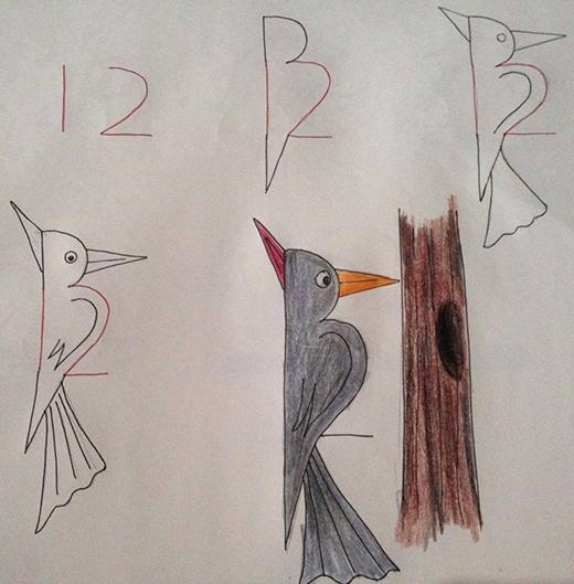 Một chú chim gõ kiến từ con số 12 làm chuẩn và thêm một vài nét giản đơn xung quanh là xong.