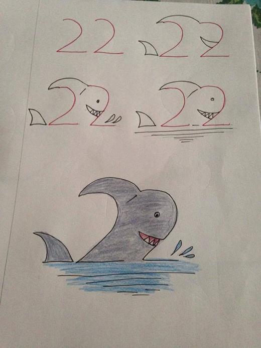 """Chuyện vẽ một chú cá mập không còn phức tạp nữa rồi. Bạn có thể """"nhắm mắt"""" mà vẽ bằng con số 22 thôi đấy!"""