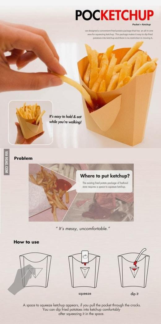 Túi đựng khoai tây chiên kèm ngăn chứa tương cực tiện lợi luôn!