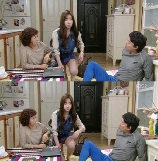 Chiếc váy quá ngắn đã khiến nội y sáng màu của người mẫu Kang Ye Bin xuất hiện lồ lộ trong một tập phim The Wang Family.