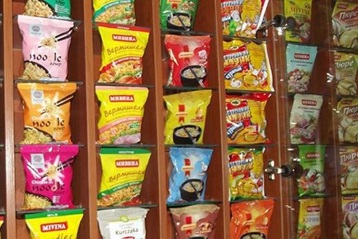 Các sản phẩm ăn liền của thương hiệu Mivina do ông Phạm Nhật Vượng lập ra ở Ukraine.