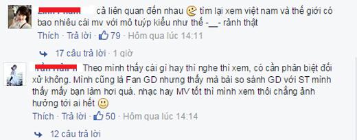 Một số ý kiến cho rằng anti fans đã quá khắt khe khi so sánh sản phẩm của Sơn Tùng với Big Bang.