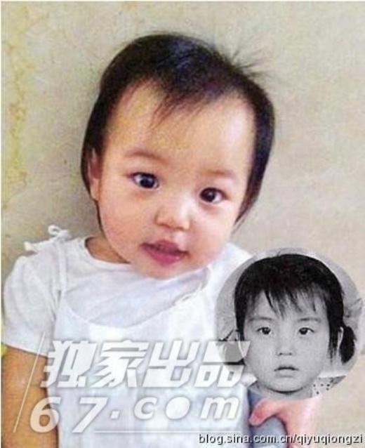 Triệu Vy khi nhỏ (ảnh bé) và con gái cưng Tiểu Tứ Nguyệt. So sánh có thể thấy, bé Tiểu Tứ Nguyệt giống mẹ như tạc, cô bé được kì vọng sau này có thể làm khuynh đảo showbiz châu Á như mẹ.