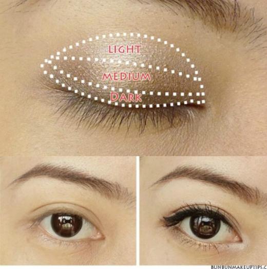 8. Khi make-up cho mắt, bạn nên tán phấn theo nguyên tắc: phần cạnh viền mắt tán phấn tối màu, phần giữa bầu mắt tán phấn màu trung tính và phần hốc mắt gần lông mày tán phấn sáng màu.