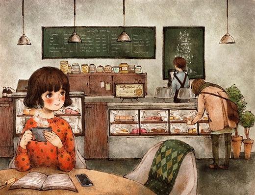 Cafe một mình vào một buổi chiều, với cuốn sách mà ta yêu thích nhất.