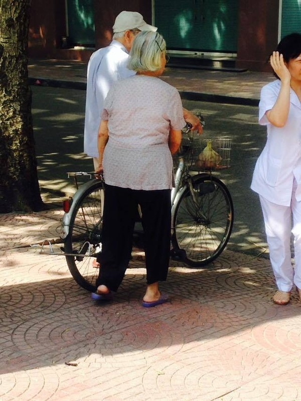 Sau khi khám bệnh xong, ông cụ lấy xe đạp chở bà cụ về nhà.