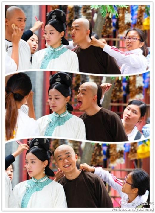 Công chúa cổ trang khoe chân thon dài. Trư muội Trần Kiều Ân làm mặt xấu sau ống kính. Viên San Sankhá bình thản khi bị đồng nghiệp trêu ghẹo.