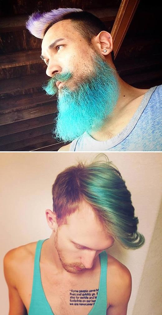 """Những tông màu này còn """"phủ sóng"""" lên cả bộ râu của phái mạnh với hiệu ứng chuyển màu khá bắt mắt. Mục đích cuối cùng của việc làm này cơ bản chỉ mang chút niềm vui, sự tươi mới đến cho cuộc sống của những người đàn ông mà thôi!"""