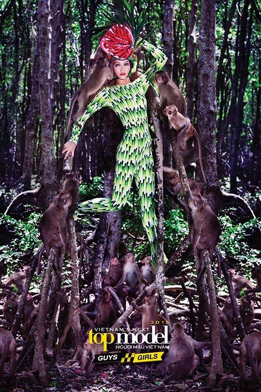 """Vượt qua nỗi sợ với các chú khỉ, H'Hen Niê đã xuất sắc giành được chiến thắng bức ảnh đẹp nhất tuần. Khi nhận xét về cô gái người dân tộc Ê-đê, Thanh Hằng phải trầm trồ: """"Chị thấy em giống nữ chúa rồi đấy!"""" trong khi Samuel Hoàng lại hỏi cô vì sao có thể chiêu dụ được bầy khỉ hợp tác một cách hoàn hảo như thế."""