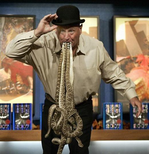 Rắn đuôi chuông được xem là một trong những loài rắn độc nhất thế giới. Tuy nhiên, đã có người đàn ông dám ngậm chặt trong miệng 11 con rắn đuôi chuông còn sống, đó là ông Jackie Bibby. Kỉ lục này đã khiến nhiều người hết sức kinh hãi và sợ sệt.