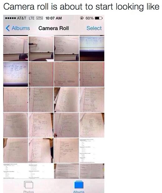 Trong điện thoại ngập tràn những bức hình chụp bài giảng của giáo viên.