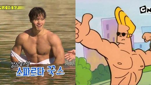 Người hùng Kim Jong Kook và Johnny Bravo đều khiến người xem phải ganh tị bởi cơ bắp của mình.