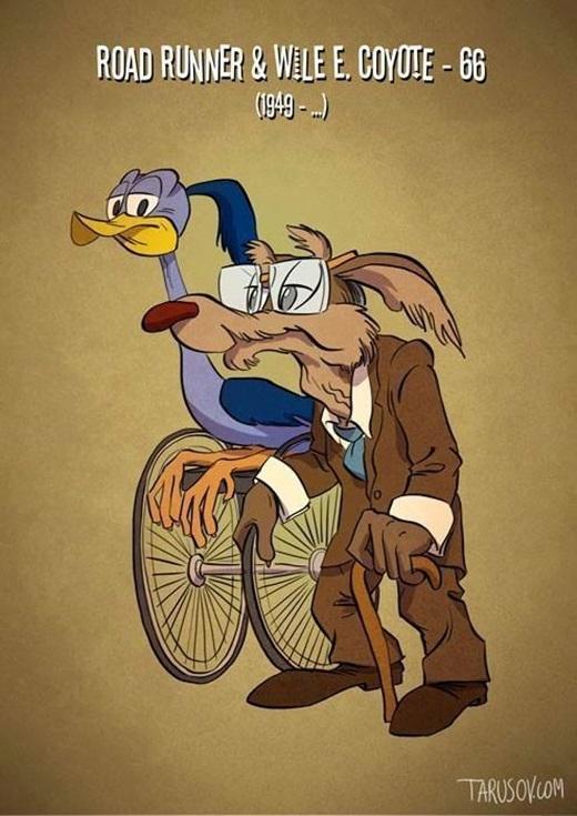 Chú chim Road Runner năng động giờ phải nhờ vào sự hỗ trợ của xe lăn, còn người bạn Wile cũng đã già đi trông thấy.