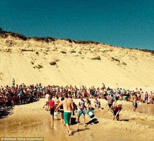 Thay vì vui chơi dưới biển, rất nhiều người, trong đó có cả trẻ em đã nhiệt tình tham gia giải cứu chú cá mắc cạn.