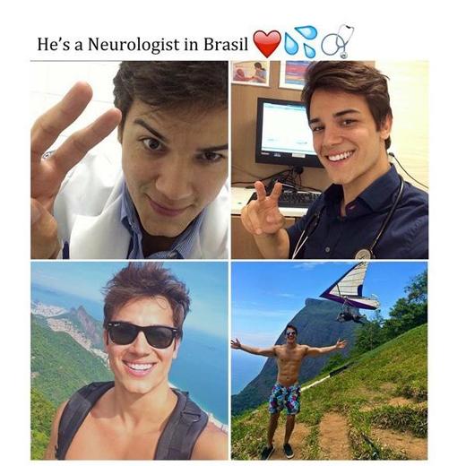 Một anh chàng bác sĩ ở Brazil khiến các bệnh nhân nữ muốn xỉu vì ngoại hình không kém nhiều nam diễn viên Hollywood.