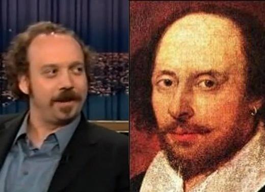 Nam diễn viên Paul Giamatti và nhà văn vĩ đại William Shakespeare lại có những nét tương đồng đáng ngạc nhiên trên gương mặt. Hai nhân vật nổi tiếng đều thể hiện được ánh mắt tinh tế tuy có vẻ ngoài hơi nhếch nhác.