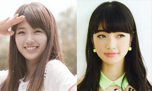 Suzyvà Nana Komatsu khiến người hâm mộ ngỡ rằng họ giống nhau như hai giọt nước nếu để cùng kiểu tóc.