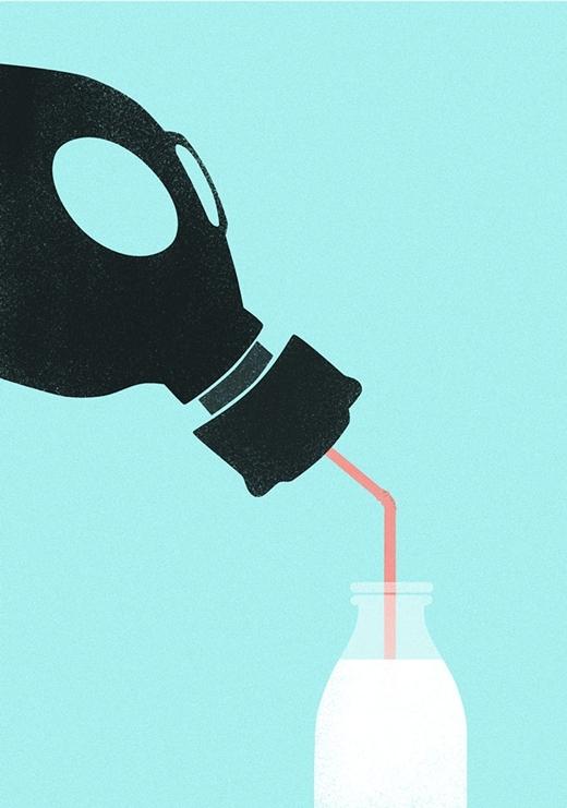 Nhà máy sản xuất các sản phẩm từ thịt và sữa gây giảm chất lượng không khí trầm trọng.(Ảnh: Boredpanda)
