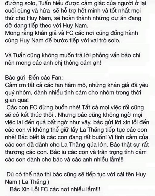 Minh Tuấn cũng đã xin lỗi các fan của La Thăng và thông báo sẽ tiếp tục giúp đỡ Huy Nam trên con đường solo. - Tin sao Viet - Tin tuc sao Viet - Scandal sao Viet - Tin tuc cua Sao - Tin cua Sao