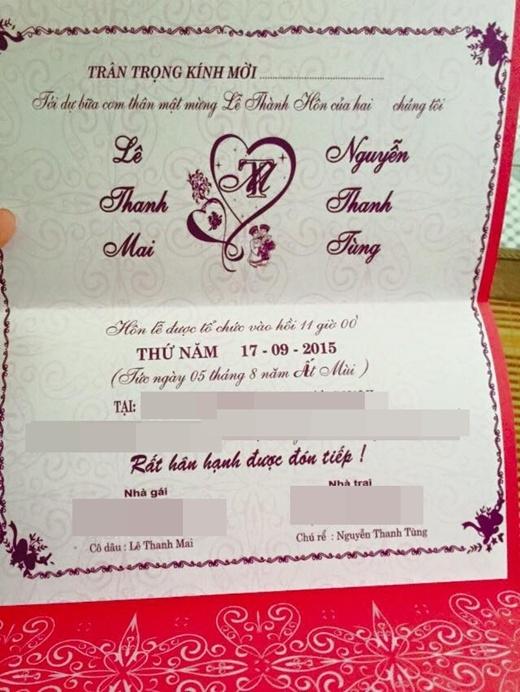 Thiệp cưới của cặp đôi dễ thương.