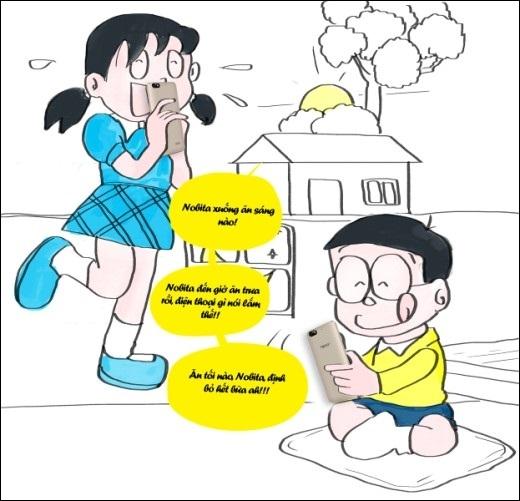 Nhờ có bảo bối pin trâu, Nobita tha hồ tám với Xuka cả ngày mà không lo sập nguồn…