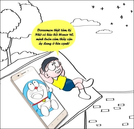 Với món bảo bối thần kì Honor 4C bên cạnh như một người bạn không thể tách rời, Nobita luôn có cảm giác Doraemon vẫn luôn còn ở bên, lo lắng, quan tâm và giúp đỡ cậu…