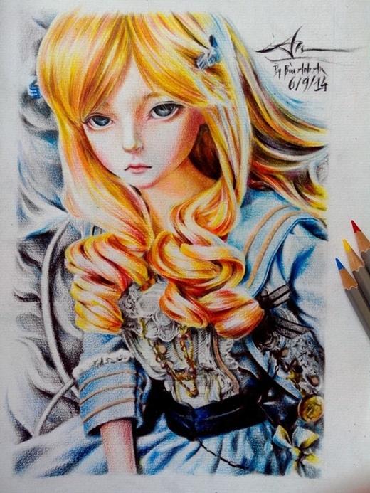 Bức tranh vẽ bằng màu hiếm hoi của An. (Ảnh: Internet)