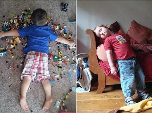 Cư dân mạng hài hước bình luận: Mình khâm phục cậu bé dùng bộ xếp hình Lego làm giường ngủ quá! Sao có thể chợp mắt trên dạng địa hình đó chứ?.(Ảnh: Boredpanda)