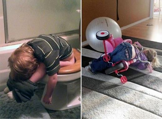 Ngay cả đi vệ sinh cũng có thể ngủ quên được ư? (Ảnh: Boredpanda)