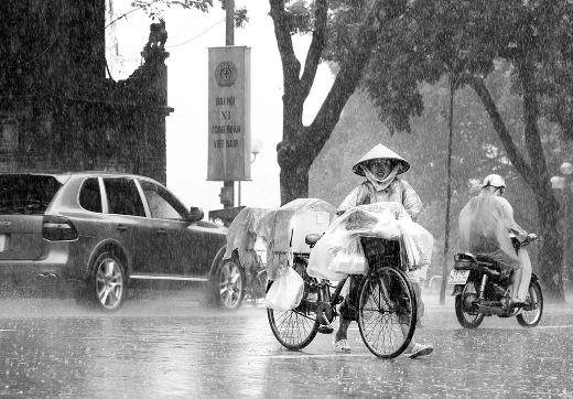 Gánh hàng mưu sinh mặc ngày mưa xối xả, vẫn đi, vẫn cười và vẫn thật lạc quan.