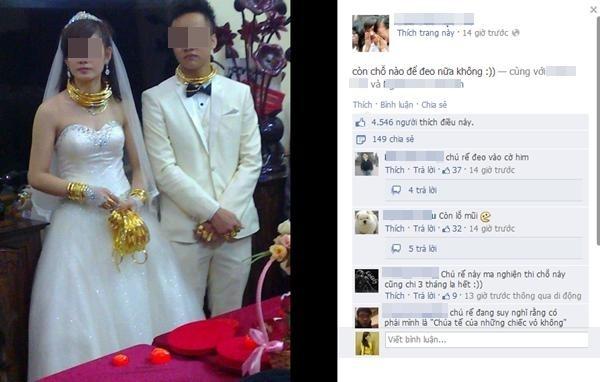 Cuối năm 2012, cư dân mạng cũng xôn xao về cô dâu đeo đầy vàng trong đám cưới khủng ở Lạng Sơn.