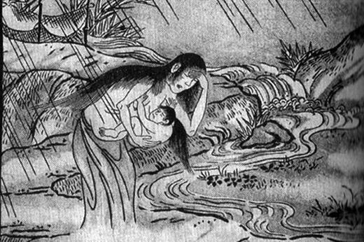 Trong truyền thuyết Nhật Bản, Ubume là linh hồn của những phụ nữ chết khi đang sinh con hoặc mang thai. Ubume được miêu tả là một sinh vật giống chim nhưng biến hóa thành một người phụ nữ đi bắt cóc trẻ em.