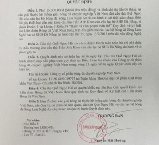 Nóng: Quế Ngọc Hải bị VFF phạt nặng gấp đôi
