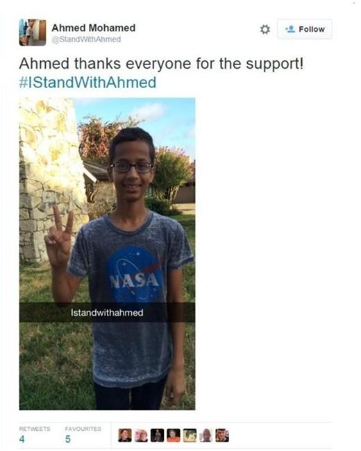 """""""Cảm ơn mọi người vì đã ủng hộ!"""", Ahmed viết trên trang cá nhân.(Ảnh: Internet)"""