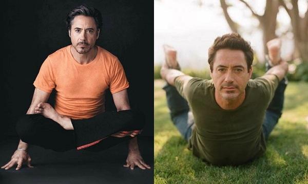 """Anh chàng """"Iron Man"""" Robert Downey Jr cũng là một """"tín đồ"""" trung thành của yoga. Trước kia, Robert từng nghiện ma túy, do vậy anh tập yoga để kiểm soát cơn nghiện và tăng cường sức khỏe. Bài tập yêu thích của Robert là power-flow yoga vì nó giúp duy trì thân hình săn chắc và cân bằng tinh thần. Trong những lúc bận rộn trên phim trường, anh thường tranh thủ tập luyện giữa các cảnh quay."""