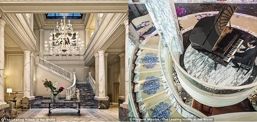 Khách sạn Palazzo Parigi mang đậm phong cách kiến trúc Milan vào những năm 1930 với phần sảnh được lát đá cẩm thạch và đèn chùm thiết kế tinh xảo.(Nguồn: Daily Mail)