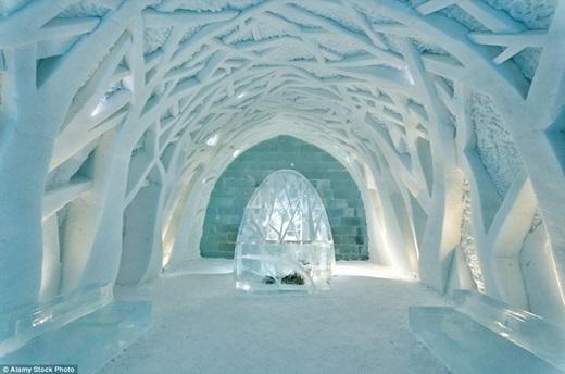 Mỗi năm, khách sạnbăng tuyết ở Jukkasjärvi, Thụy Điển lại được xây dựng lại với một thiết kế hoàn toàn mới. Trong ảnh là sảnh khách sạn vào năm 2012 lấy nguồn cảm hứng từ rừng rậm nhiệt đới.(Nguồn: Daily Mail)