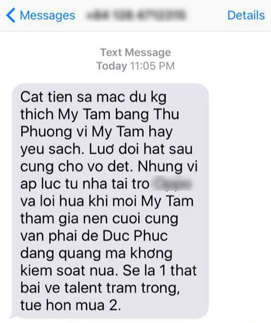 Đoạn tin nhắn nặc danh được phát tán trước thời điểm công bố kết quả - Tin sao Viet - Tin tuc sao Viet - Scandal sao Viet - Tin tuc cua Sao - Tin cua Sao