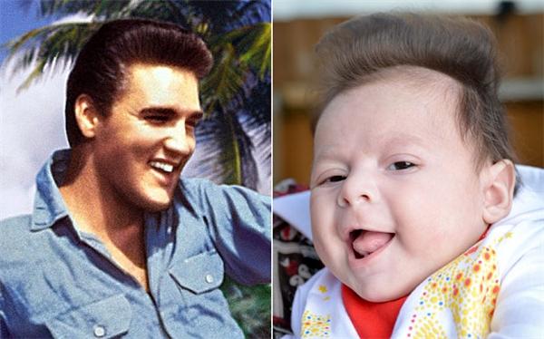 Chỉ vài giây thôicũng có thể nhận ra bé trai kháu khỉnh này là bản sao của huyền thoại âm nhạc Elvis Presley.
