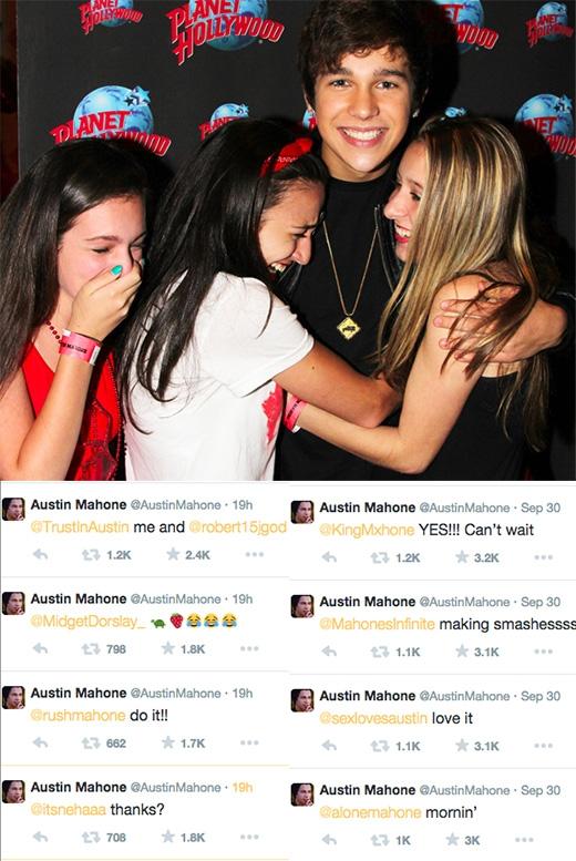 Nếu có ai đã từng nghi ngờ về tình cảm của Austin đối với người hâm mộ, thì chắc chắn sẽ phải nghĩ lại khi nhìn vào những dòng trả lời tin nhắn từng người trên trang mạng xã hội của anh.