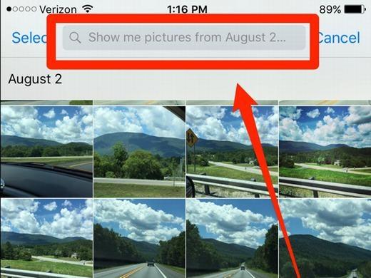 """Siri có thể giúp bạn tìm kiếm các bức ảnh lưu trong điện thoại dựa trên thời gian hoặc địa điểm chụp. Chẳng hạn như bạn có thể ra lệnh cho nó: """"Hãy hiển thị những bức ảnh chụp trong tháng 8/2014"""" hoặc """"Hiển thị những bức ảnh chụp ở New Jersey"""", thậm chí kết hợp cả 2 yếu tố cũng được: """"Hãy hiển thị những bức ảnh được chụp tại New Jersey trong tháng 8/2014""""."""