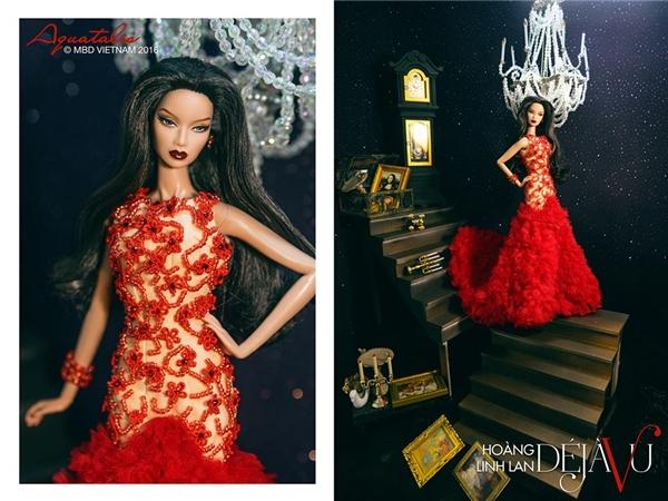 Ngoài phần chân váy khá cầu kì, chiếc đầm của Hoàng Linh Lan còn ghi điểm bởi những chi tiết đính kết kì công, tỉ mỉ.