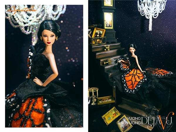 Bộ váy của Vương Thu Phương lại trông giống những cánh bướm đêm rực rỡ nhưng vô cùng huyền bí.
