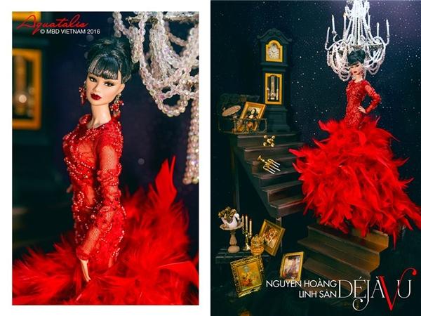 Nguyễn Hoàng Linh San thực sự là nữ hoàng của đêm tiệc với chiếc đầm đỏ rực khó hòa lẫn vào đâu.