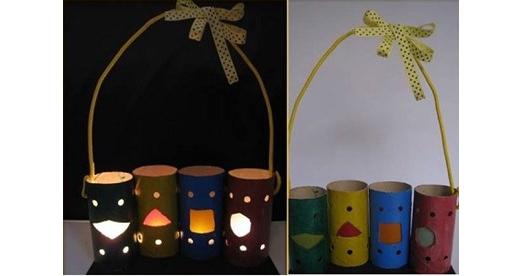Lồng đèn làm từ lõi giấy vệ sinh.