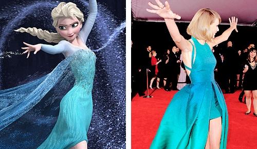 Chiếc váy xanh cùng động tác của giọng ca Blank Space khiến nhiều người liên tưởng đến nữ hoàng Elsa của bộ phim Frozen.
