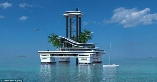 Chủ sở hữu của hòn đảo có thể nhìn ra bốn phía từ khu nghỉ dưỡng trên độ cao 80m.